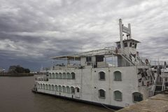 Old ship in harbor and cloudy sky Buenos Aires Argentina Latin America South America NICE Royalty Free Stock Photos