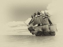 Old ship HSM Victory - 3D render Royalty Free Stock Photo
