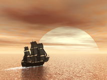 Old ship HSM Victory - 3D render Stock Photo