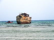 Old ship at the Indian Ocean Mombasa Stock Images