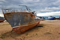 The old ship on the bank of Baikal Royalty Free Stock Images