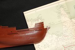 Old ship and map. Stock Images