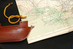Old ship and map. Royalty Free Stock Image