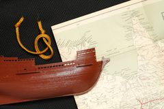 Old ship and map. Stock Photography
