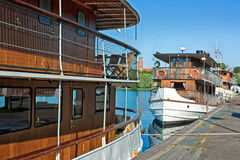 Old ship at the marina Stock Photo