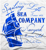 Old ship marine club watercolor tee graphic design stock illustration