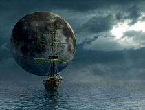 Old ship and the moon. Fantasy view of an old ship- digital artwork Royalty Free Stock Images