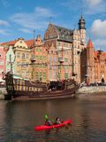 Old ship on Motlawa river in Gdansk historical Stock Images