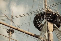 Old ship nests and masts, retro style stock image