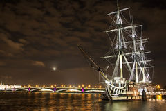 Old ship on the Neva river Royalty Free Stock Photos