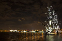 Old ship on the Neva river Royalty Free Stock Photo