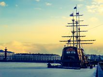 Old ship on the Neva River Stock Image