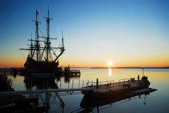 Old ship at night Royalty Free Stock Image