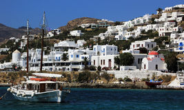 Old ship in old port of Mykonos island Stock Image