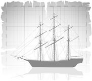 Old ship over ancient map with grid. Vector illustration Royalty Free Stock Photo