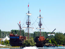 Old ship. Photo of a historical ship placed at a public park in Turkey Stock Photo