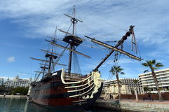 Old ship in the port of Alicante. Stock Photos