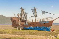Old Ship Replica at Coast of Beach Stock Image