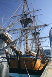 Old ship rests in port. Captain Cook's replica ship at display in port of Melbourne, Australia stock images