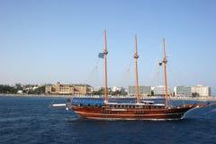 Old ship in Rhodes. Old ship near beach of Rhodes, Greece royalty free stock photos