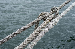 Old ship ropes tightened closeup Royalty Free Stock Photography