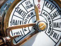 Old ship`s telegraph with broken glass royalty free stock photo