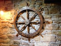Free Old Ship`s Wheel In Bar Ship Inn On Lindisfarne The Holy Island Stock Image - 101095861