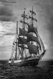Old ship sailing. black and white Royalty Free Stock Photo