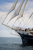 Old ship. Sailing in the sea stock photo