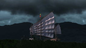 Old ship sailing with storm  stock video footage
