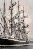 Old ship sales in black and white Royalty Free Stock Image