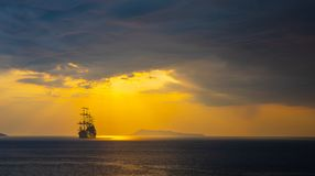Old ship silhouette in sunset scenery. Italy stock images
