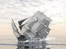 Old ship sinking - 3D render. Beautiful detailed old merchant ship sinking in the ocean vector illustration