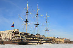 Old ship. St. Petersburg. Winter. Stock Images