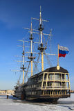 Old ship. St. Petersburg. Winter. Royalty Free Stock Photos