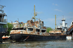 Old ship standing in Sulina port Royalty Free Stock Images