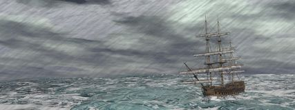 Old ship in the storm - 3D render Royalty Free Stock Images