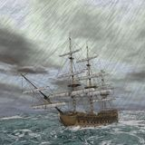 Old ship in the storm - 3D render Royalty Free Stock Photos