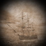 Old ship in the storm - 3D render Stock Photo