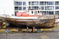 Old ship on street in Reykjavik city. Travel to Iceland - old ship on street in Reykjavik city in september Stock Image
