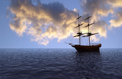 Old ship at sunset. Fantasy view of an old ship at sunset - digital art work Stock Photo