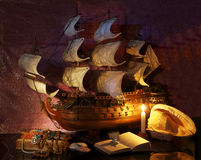 Old ship on the table. With object Stock Photo