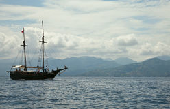 Old ship in te sea. Near Bali Royalty Free Stock Photo