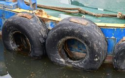 Old ship and tire Stock Image