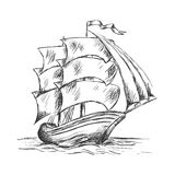 Old ship under full sails in ocean water Royalty Free Stock Images