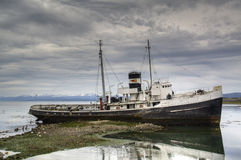Old ship in Ushuaia, Argentina. Old ship in the harbor of Ushuaia, Argentina Royalty Free Stock Image