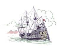 Old ship vector sketch illustration Gdansk watercolor vector illustration
