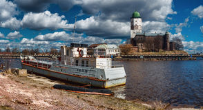 The old ship in Vyborg. stock image