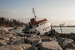 Old Ship Washed Ashore in Bosphorus Stock Images