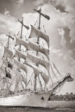 Old ship with white sales. In black and white stock photography